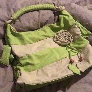 Handbags - Lime & Cream Hobo Bag with Rosette Accent